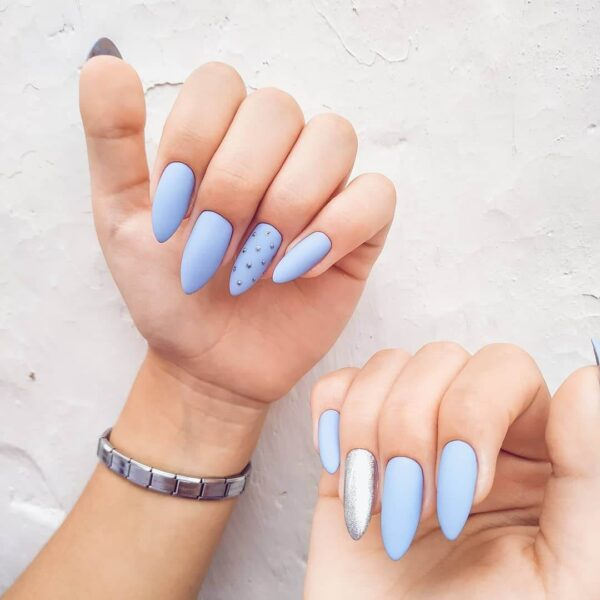 Blue manicure on long nails