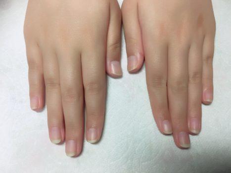 ジェルネイルのデザインだけを取り除いた爪