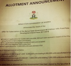Benue Citizens to pay N1.82b every year as interest on Bonds.