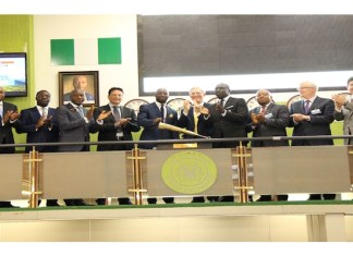 Investors closing the bell on the floor of the Nigerian Stock Exchange