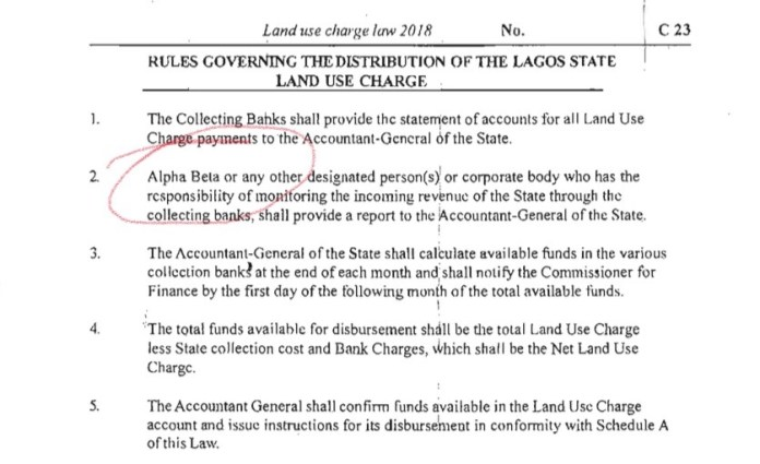 Excerpt of Land Use Charge on Alpha Beta
