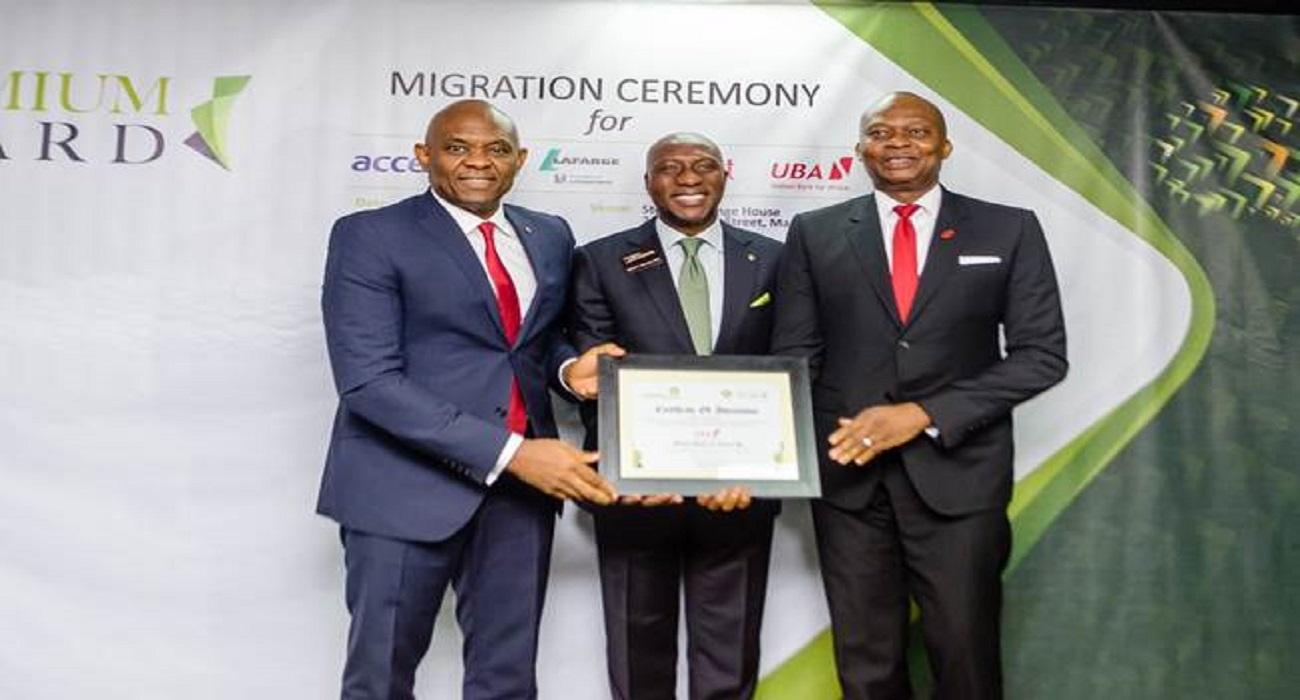 NSE: UBA Chairman; Tony Elumelu (Left), Nigerian Stock Exchange CEO; Oscar N. Onyema; (Middle), UBA MD; Kenedy Uzoka (Right)