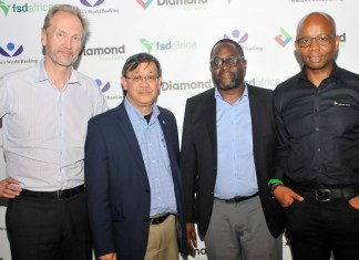 L – R : Mark Napier, Director, Financial Sector Development Africa, (FSDA); Gil Lacson, Director, Strategic Partnerships, Women's World Banking; Paul Musoke, Director, Financial Services, Financial Sector Development Africa (FSDA); and Uzoma Dozie, CEO, Diamond Bank Plc at a Dinner hosted by Diamond Bank Plc in Lagos recently.