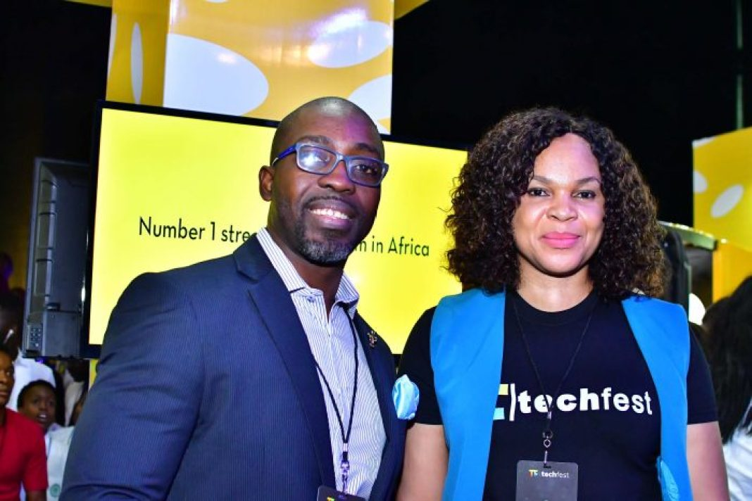TUNJI ANDREWS WITH LYNDA SAINT NWAFOR, CHIEF ENTERPRISE BUSINESS OFFICER, MTN NIGERIA