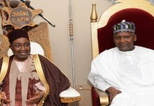 L-R: Emir of Lafia, HRH. Dr. Isa Mustapha Agwai and Chairman, Aliko Dangote Foundation, Aliko Dangote at the Emir's Palace during a courtesy visit by the Board of Dangote Foundation to the Palace of the emir at the weekend.