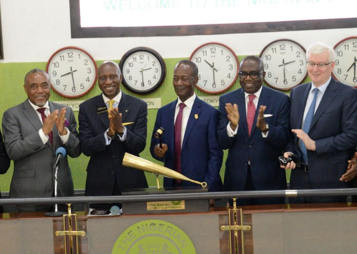 L-R, Non-Executive Director Dangote Cement Plc, Emmanuel Ikazubor, Chief Executive Officer of The Nigerian Stock Exchange (NSE) Oscar Onyema, Group Managing Director/ Chief Executive Officer Dangote Cement Plc, Engr. Joseph Makoju, Non-Executive Director Dangote Cement Plc, Ernest Ebi, Group Chief Finance Officer Dangote Cement Plc, Brian Egan, at the Dangote Cement Plc Closing Gong Ceremony, Floor of Nigerian Stock Exchange Lagos on 6th June 2018.