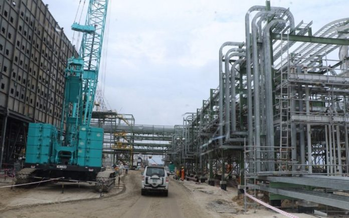 Ongoing construction works at Dangote Refinery