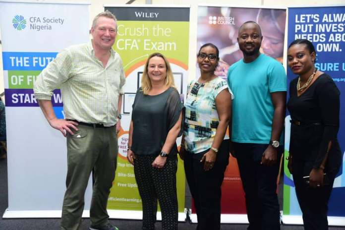 From left to right; Paul Smith, CFA Worldwide President, Lucy Pearson (British Council, Country Director Nigeria) Marniee Nottingham (British Council, Country Examinations Manager), Banji Fehintola, CFA Nigeria President.