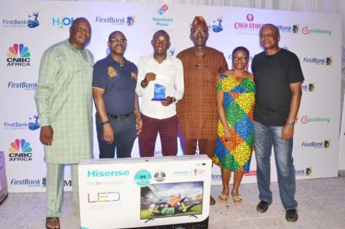 L – R General M.A.O Amolegbe, Captain, Ikoyi Club 1938 Golf Section; Gbenga Shobo, Deputy Managing Director, First Bank of Nigeria Limited; Samuel Njoroge from Kenya and Winner of the 57th FirstBank Lagos Amateur Golf Open Championship; Babatunde Akinleye, Chairman Ikoyi Club 1938; Candy Agu, Lady Captain Ikoyi Club 1938 Golf Section and Tunde Johnson, Vice Captain Ikoyi Club 1938 Golf Section during the Prize presentation at the final of the 57th FirstBank Lagos Amateur Golf Open Championship held in Ikoyi Club, Lagos over the weekend.