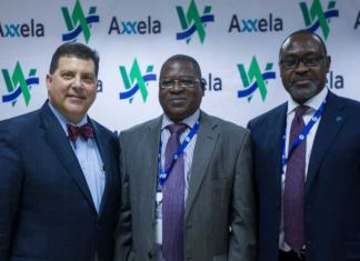 """(L-R) Walter Perez, Managing Director, West African Gas Pipeline Company (WAPCo); Debo-K'mba Barandao, Director-General, West African Gas Pipeline Authority (WAGPA); and Bolaji Osunsanya, Chief Executive Officer, Axxela, during the recent signing of a gas transportation agreement between Axxela and WAPCo at the WAPCo Head Office in Accra, Ghana to transport over 15 million standard cubic feet per day (""""mmscf/d"""") of natural gas via the West African Gas Pipeline (WAGP) to Lome, Togo."""
