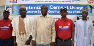 L-R: Quality Control Manager, BUA Obu Cement, Adeyinka Adesola; Chairman, Kano State Block Moulders Association, Umar Musa; Regional Manager, BUA Obu Cement, Yahuza Salisu; Head of Training, ITF, Dauda Lawal; General Manager Sales, BUA Obu Cement, Nasiru Ladan; and Unit Head Civil/Building Department, SON, Engr Musa Bauchi at the Concrete and Blockmaking Stakeholders workshop held on Tuesday in Kano State and organised by BUA Cement.