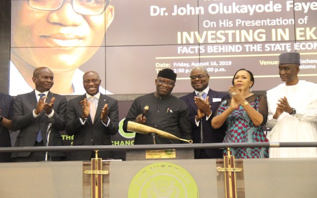 Governor-Fayemi-NSE, Ekiti, Osun, Delta, Imo, 9 others raise over N500 billion bonds in 10 years