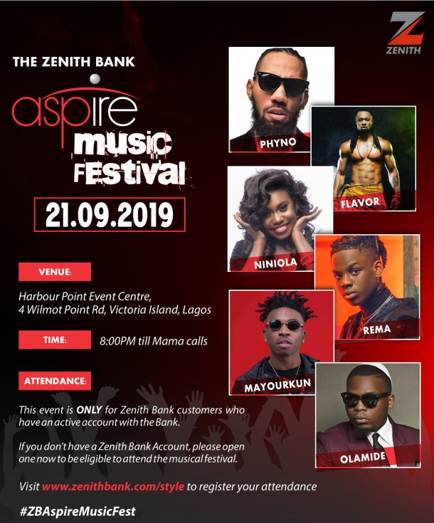 Zenith Bank's aspire music festival debuts in Lagos features Nigeria's top artistes