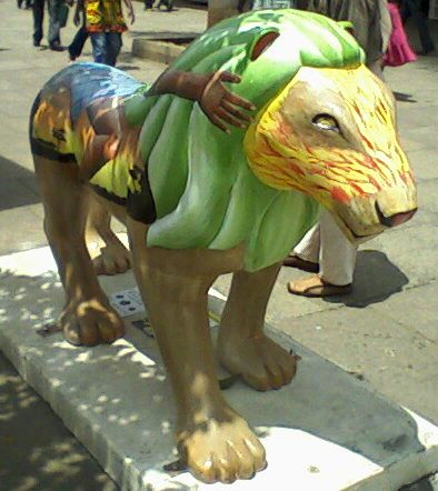 Some of the lion artwork placed around Nairobi to draw awareness to the plight of lions.