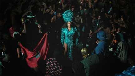Beyoncé in Jerome LaMaar and Sarah Soko Millinery . Photo: Disney+