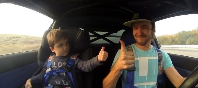 ハチロクに5歳の息子を乗せてドリフトしてみた!