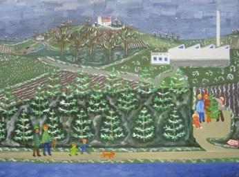 Landskab med december og fældning af juletræer. Værket er nr 13 i Tidernes Landskaber og har Løbenr. 12.01