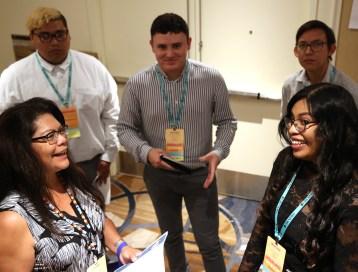 Former NAJA president Patty Talahongva speaks to Native Journalism Fellows.