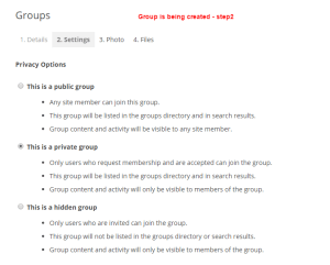 creating group step 2