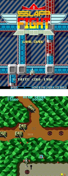 Slap Fight (arriba) y Tiger Heli (abajo)