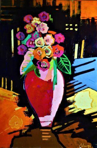 Grand vase au fleurs.Acrylique+médium sur toile lin.92X60