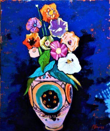 Nature morte bleue.Acrylique+médium sur toile lin.65X54