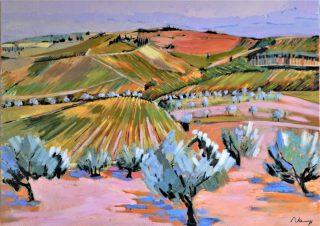 La toscane vers Volpaia. Acrylque+médium sur toile lon.100X81