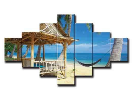 7 dielny obraz na stenu pláž s domčekom