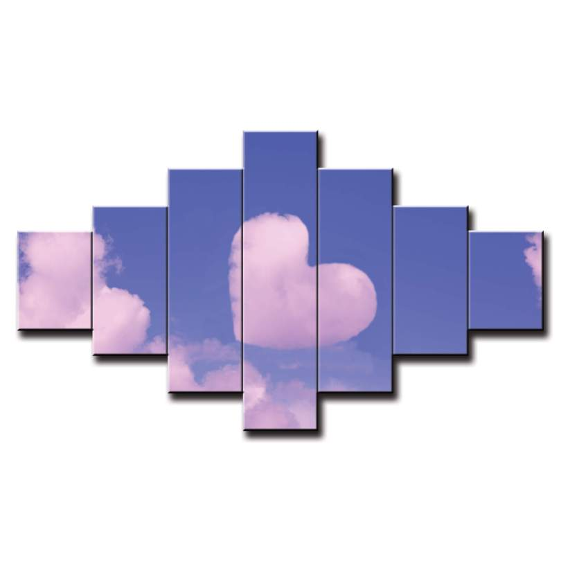 7 dielny obraz na stenu srdce v oblakoch