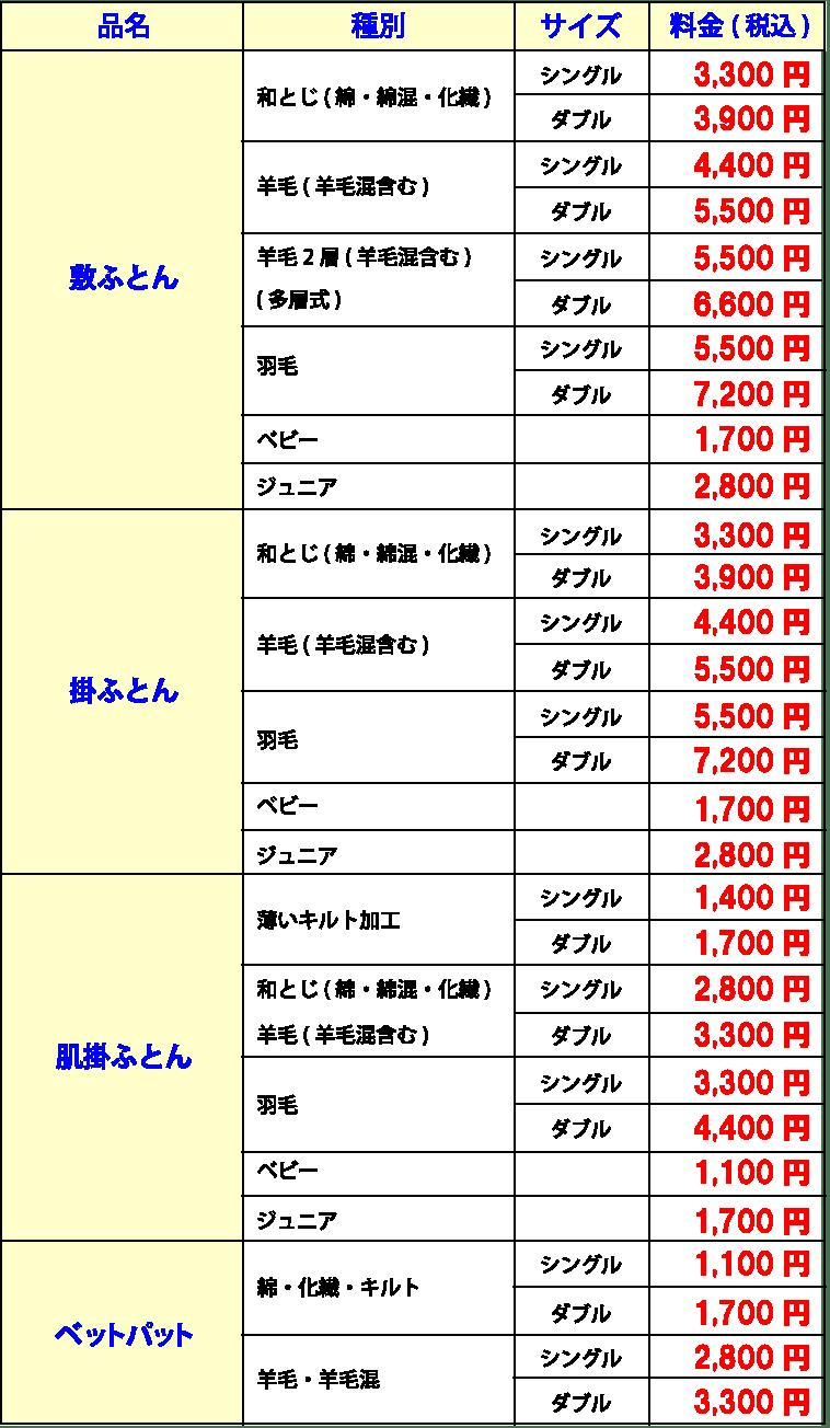 ふとん丸洗い料金表1