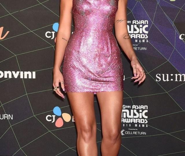 Dua Lipa Sexy Legs At  Mnet Asian Music Awards Red Carpet At