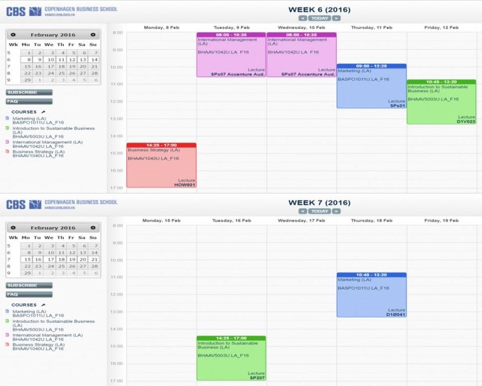 6주차(위)와 7주차 수업시간표가 다르다