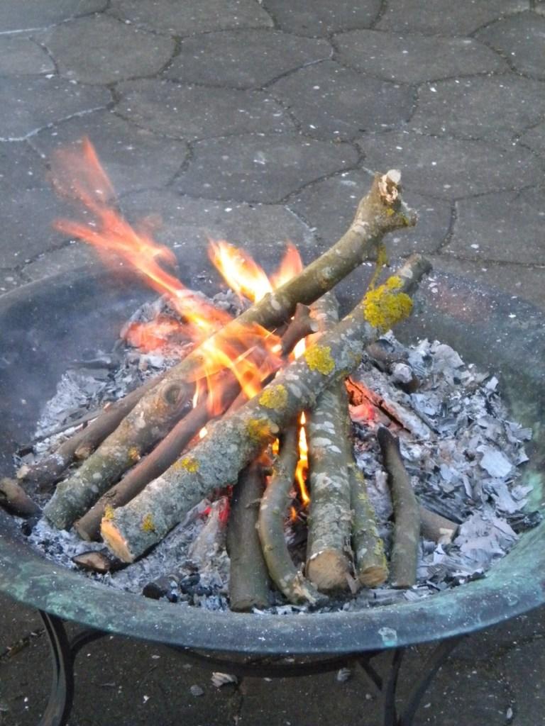 Bonfire in private garden