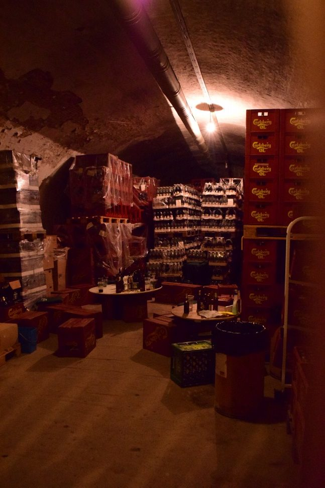 This is the storage for all the old beer. In the old days the workers would go there and play cards and drink some of the beer.