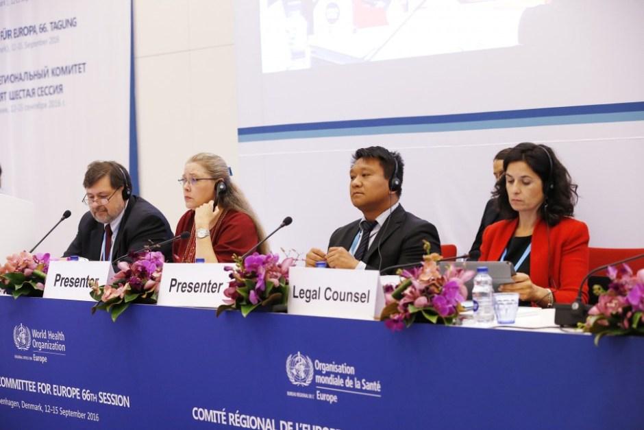 결의안 발표 후 회의 모습 (출처: WHO 유럽지사 홈페이지)