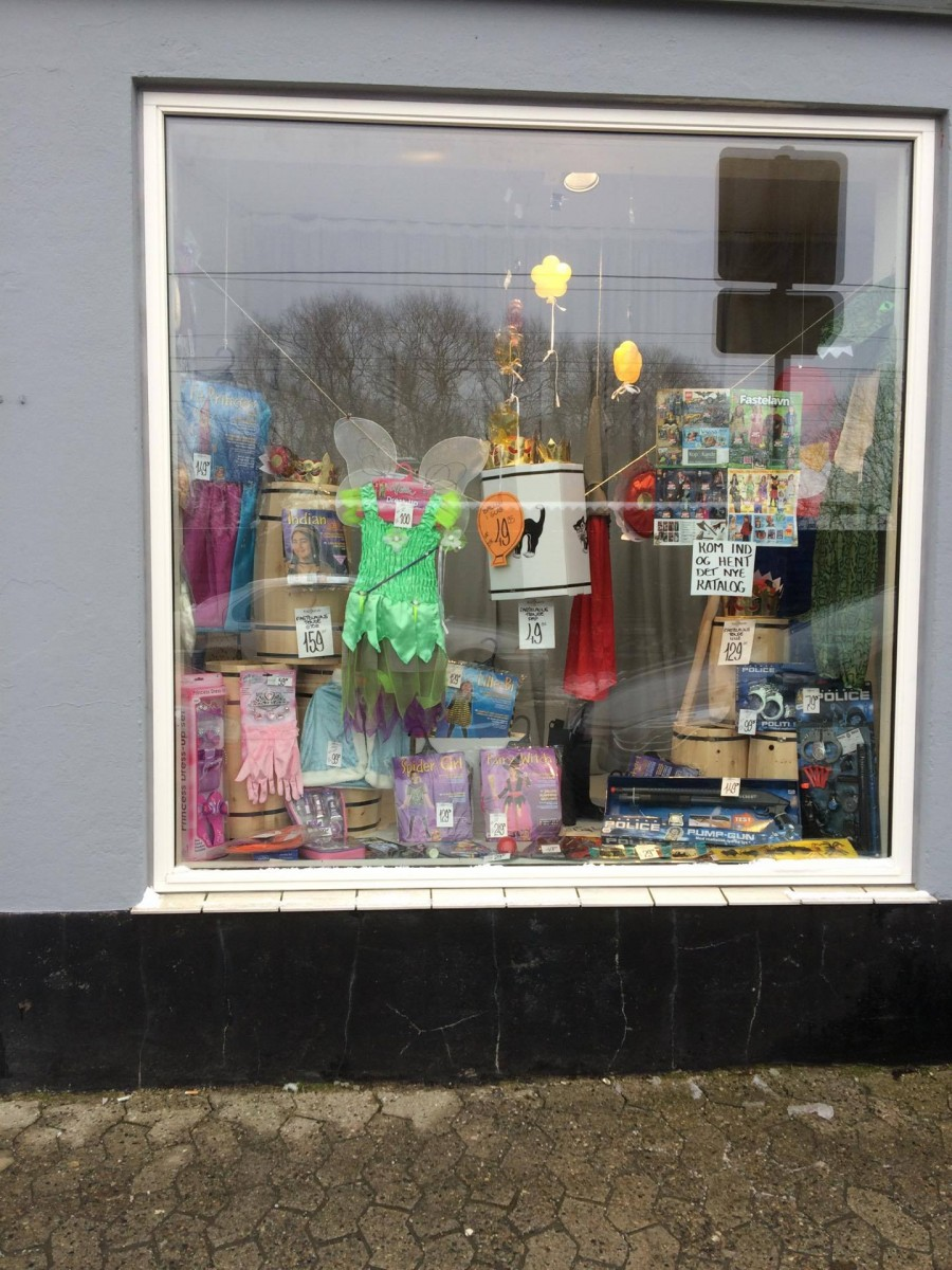 A window display of the most common things you need to buy for Fastelavn.