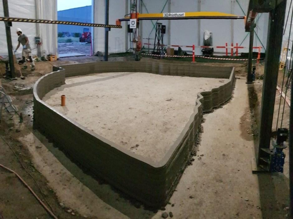 유럽 최초 3D프린팅 건축물 더봇(The BOD) 건축 현장 (3D프린트후셋 제공)