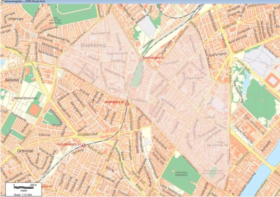 코펜하겐지방경찰청이 2018년 9월19일 밤 8시50분부터 10월3일 낮 12시까지 뇌레브로와 노르베스트 지역에 설치한 검문지역(코펜하겐지방경찰청 제공)