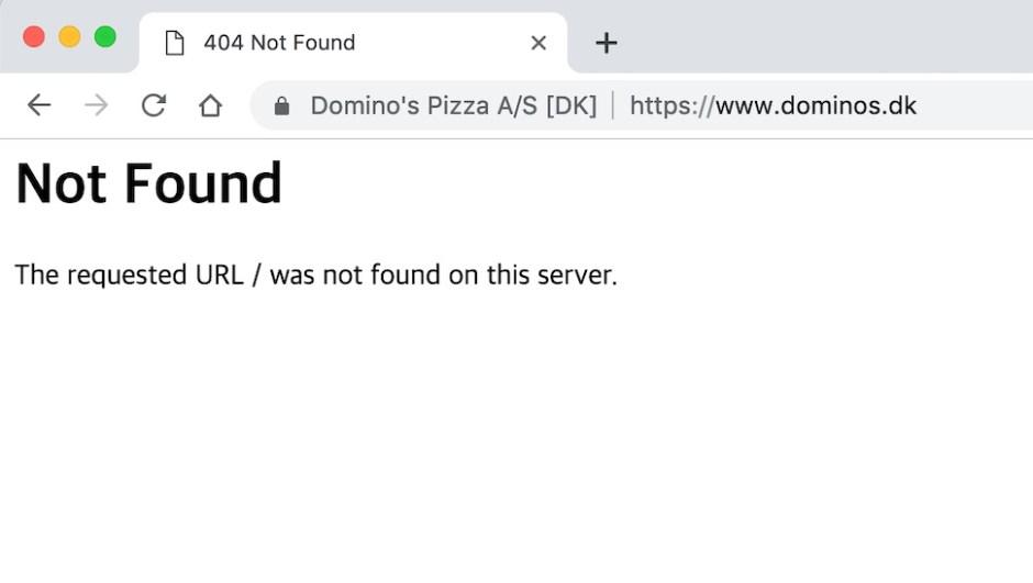 2018년 9월 불량 위생이 발각된 덴마크 도미노 피자가 이듬해인 2019년 3월2일 파산했다(덴마크 도미노 피자 웹사이트 갈무리)