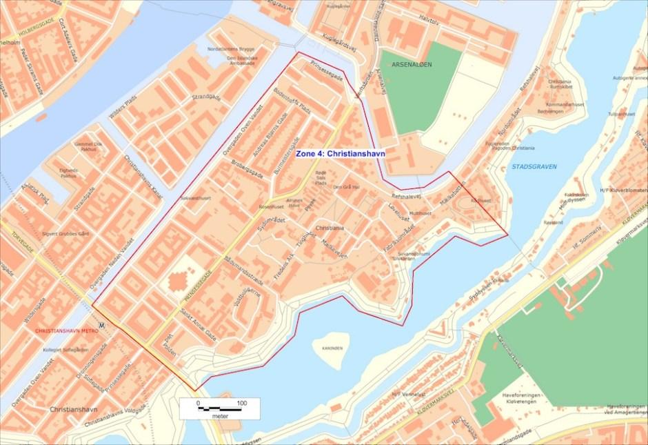 코펜하겐시지방경찰청(Kobenhavn Politi)은 4월15일부터 23일까지 코펜하겐 시내 4곳을 가중처벌 구역(skærpet strafzone)으로 지정했다. 크리스티아니아(Christiania)를 포함한 크리스티안하운(Christianhavn) 지역 가중처벌 구역은 보여주는 지도다(코펜하겐시경 제공)