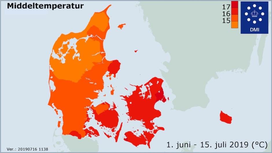 2019년 6월1일 ~ 7월15일 여름 상반기 기온(덴마크 기상청 제공)