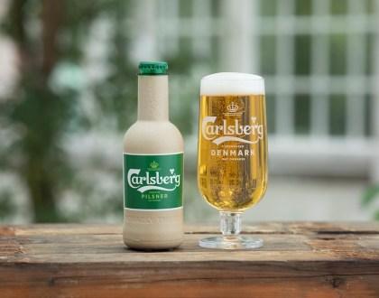 칼스버그가 10월11일 개발 중이라고 발표한 친환경 섬유질 병(Green Fibre Bottle) 시제품 (칼스버그 제공)
