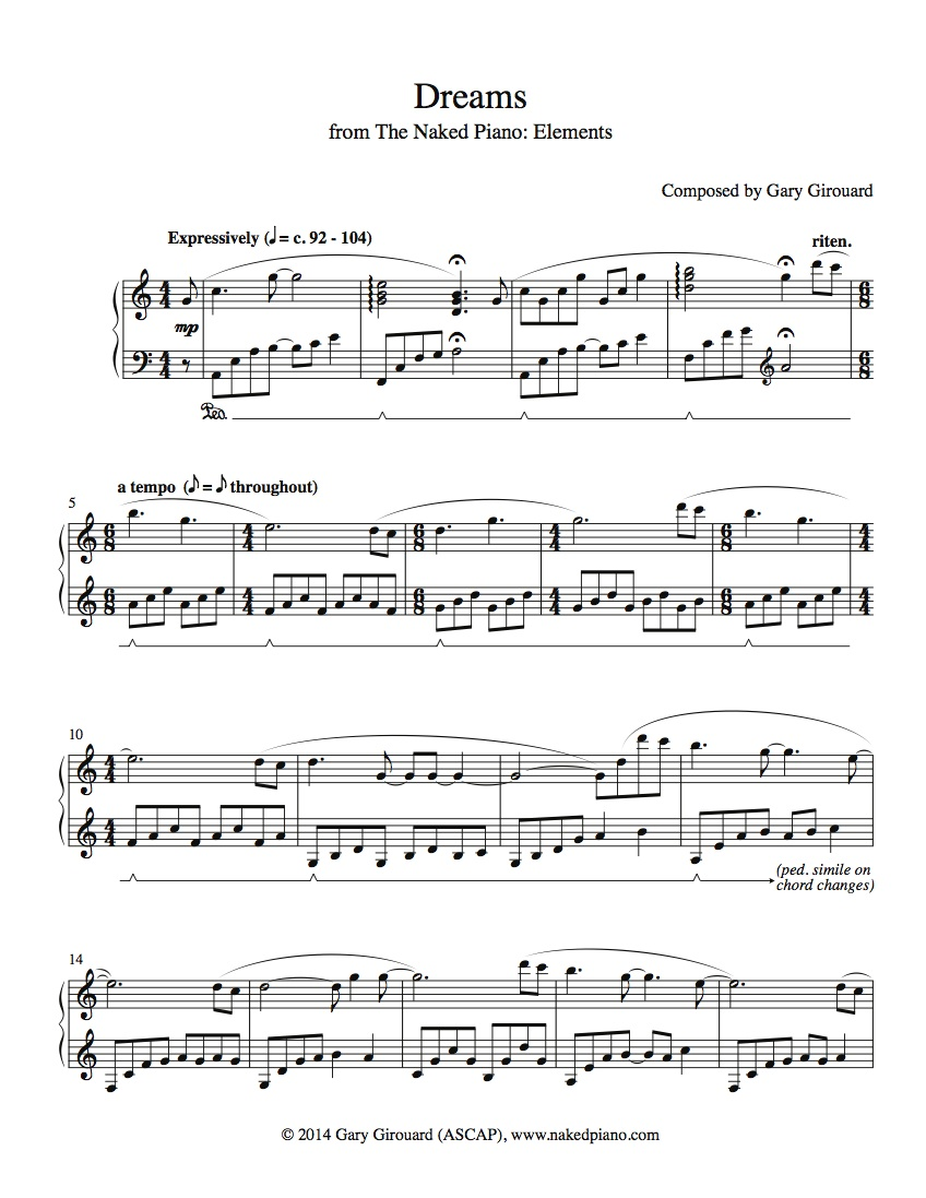 """""""Dreams"""" Solo Piano Sheet Music (from the Naked Piano Elements)"""