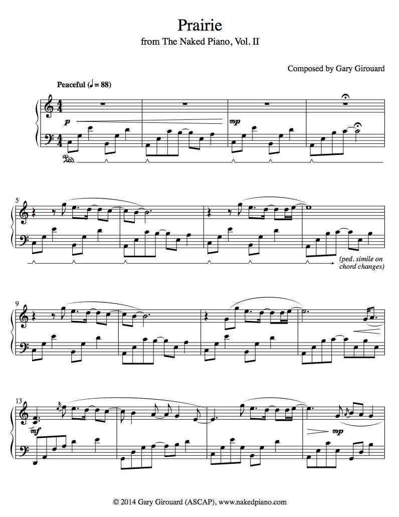 """Prairie"" Solo Piano Sheet Music (from the Naked Piano Volume II)"