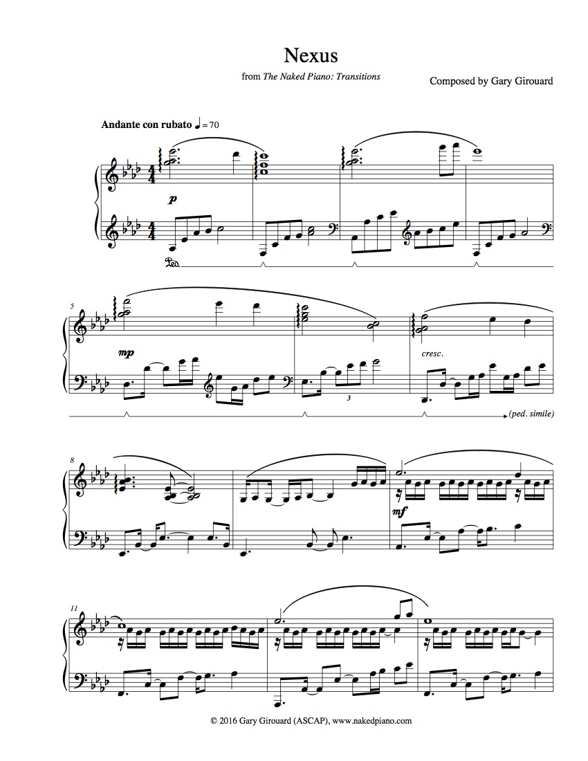"""Nexus"" Solo Piano Sheet Music (from The Naked Piano Transitions)"