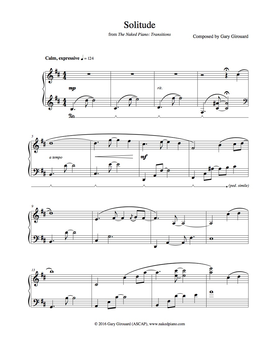"""""""Solitude"""" Solo Piano Sheet Music (from The Naked Piano Transitions )"""