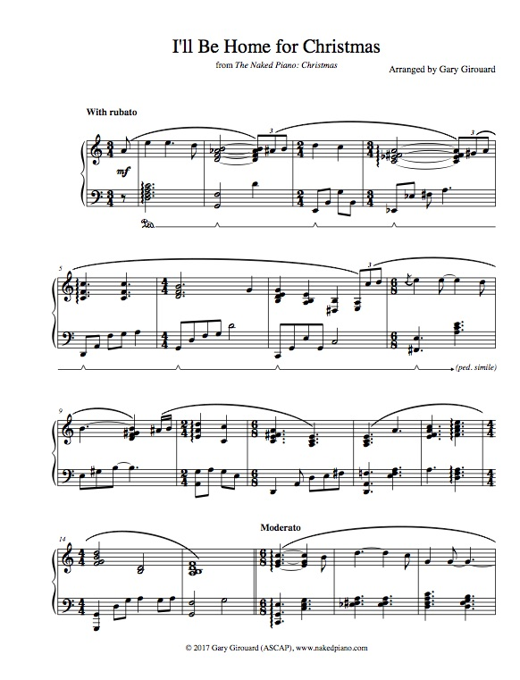 "I'll be Home for Christmas"" Solo Piano Sheet Music (from The Naked ..."