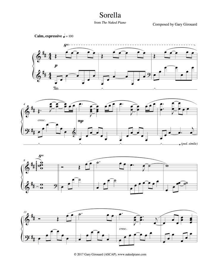 """Sorella"" Solo Piano Sheet Music (from The Naked Piano)"