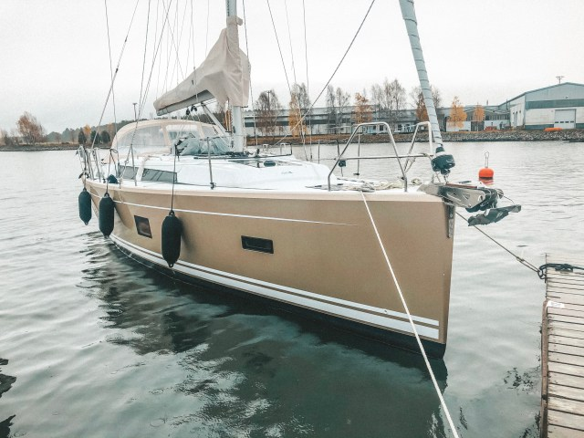 s/y Charlotte, our Hanse 388 moored.