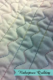 Detail of Serpentine Stitch in Variegated Thread by Nakeytoes Quilting 2016